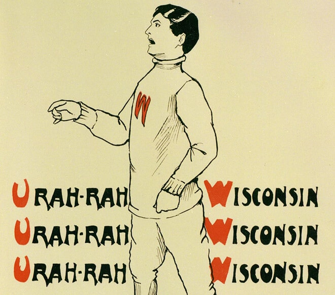 "Image from the 1902 Badger of a mascot cheering ""U Rah Rah."" (Image courtesy of University Archives.)"