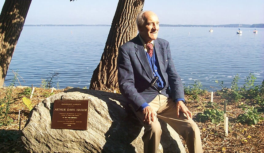 Hasler at the Limnology Garden in Madison.
