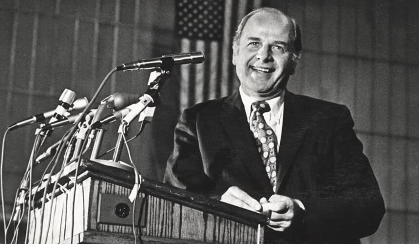 Gaylord Nelson speaks about Earth Day to a campus crowd on April 18, 1972.