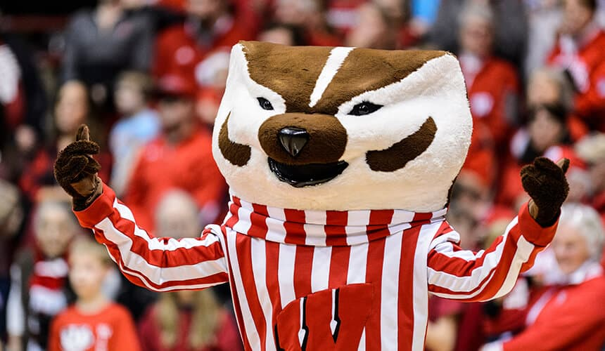 Bucky Badger during an event