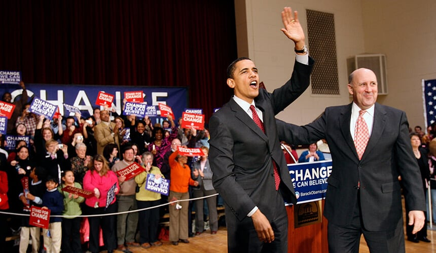 Jim Doyle with Barack Obama during his 2008 presidential campaign.