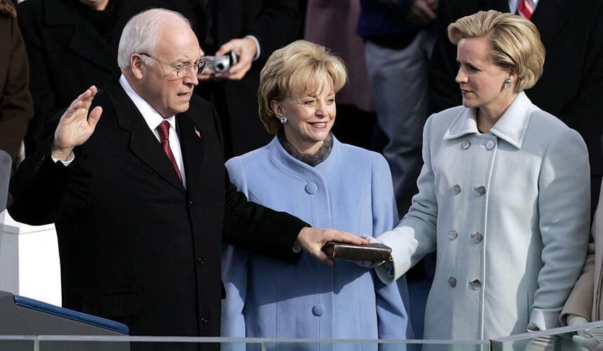 US Vice President Dick Cheney is sworn in as his wife Lynne Cheney looks on.